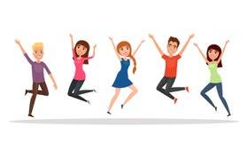 Gruppo di persone felice, ragazzo, ragazza che salta su un fondo bianco Il concetto di amicizia, stile di vita sano, successo Ill illustrazione di stock