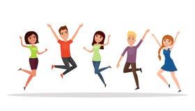 Gruppo di persone felice, ragazzo, ragazza che salta su un fondo bianco Il concetto di amicizia, stile di vita sano, successo Ill Immagini Stock