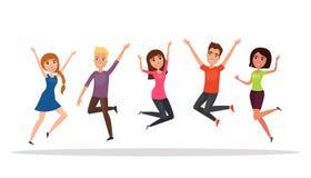Gruppo di persone felice, ragazzo, ragazza che salta su un fondo bianco Il concetto di amicizia, stile di vita sano, successo Ill illustrazione vettoriale