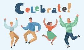 Gruppo di persone felice salto illustrazione vettoriale