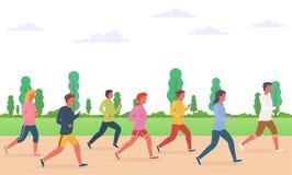 Gruppo di persone funzionare Concetto di eseguire gli uomini e le donne, maratona illustrazione di stock