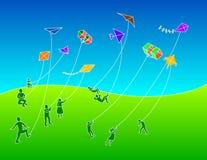 Gruppo di persone i cervi volanti di volo fotografia stock libera da diritti