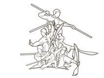 Gruppo di persone il combattente di Kung Fu, arti marziali con il grafico del fumetto di azione delle armi illustrazione vettoriale