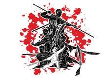 Gruppo di persone il combattente di Kung Fu, arti marziali con il grafico del fumetto di azione delle armi royalty illustrazione gratis