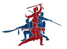 Gruppo di persone il combattente di Kung Fu, arti marziali con il grafico del fumetto di azione delle armi illustrazione di stock