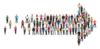 Gruppo di persone il organizati di lavoro di squadra del gruppo di successo della freccia di direttiva