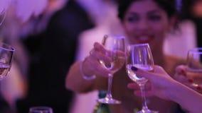 Gruppo di persone il vino bianco bevente stock footage