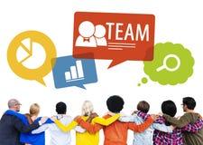 Gruppo di persone indietro con Team Concept Immagini Stock