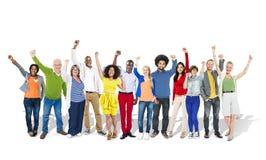Gruppo di persone innalzamento delle mani Immagine Stock Libera da Diritti