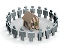 Gruppo di persone intorno ad una piccola casa di legno. illustrazione di stock