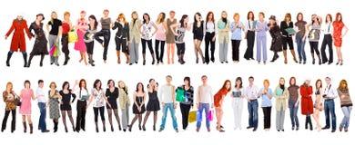 Gruppo di persone isolati sopra bianco Fotografie Stock