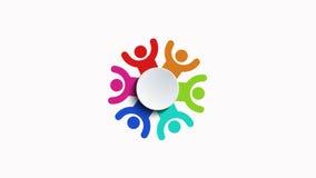 Gruppo di persone l'animazione di logo su bianco illustrazione vettoriale