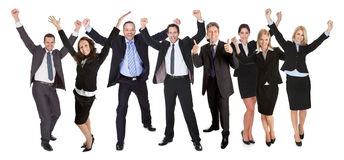 Gruppo di persone la gente di affari emozionante Immagini Stock Libere da Diritti