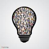 Gruppo di persone in lampadina Immagine Stock