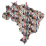 Gruppo di persone multiculturale della mappa del Brasile Brasile integrazione immi Fotografia Stock Libera da Diritti