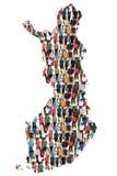 Gruppo di persone multiculturale della mappa della Finlandia il immigratio di integrazione immagini stock libere da diritti
