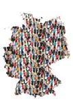 Gruppo di persone multiculturale della mappa della Germania il immigratio di integrazione immagini stock