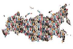 Gruppo di persone multiculturale della mappa della Russia immigrazione di integrazione fotografia stock