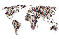 Gruppo di persone multiculturale della terra della mappa di mondo il immigr di integrazione immagini stock libere da diritti