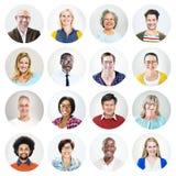 Gruppo di persone multietnico felice il colpo in testa Immagini Stock Libere da Diritti