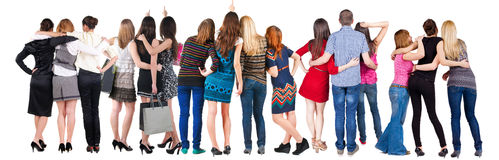 Gruppo di persone posteriore di vista sguardo. Fotografia Stock Libera da Diritti