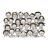 Gruppo di persone, schizzo per la vostra progettazione Immagini Stock Libere da Diritti
