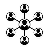 Gruppo di persone di simbolo di vettore dell'icona della rete e lavoro di squadra dell'uomo d'affari collegato illustrazione vettoriale