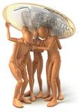 Gruppo di persone sotto l'ombrello fatto di euro moneta Fotografie Stock Libere da Diritti