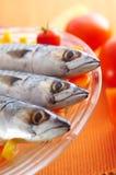 Gruppo di pesci dello scombro sulle verdure differenti fotografia stock