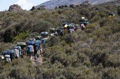 Gruppo di portatori Kilimanjaro Fotografia Stock