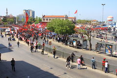 Gruppo di protesta sul lato di Kadikoy Fotografia Stock Libera da Diritti