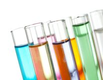 Gruppo di provette con i liquidi Fotografie Stock