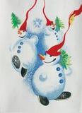 Gruppo di pupazzi di neve Fotografia Stock Libera da Diritti