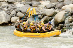 Gruppo di rafting del fiume di Whitewater fotografia stock