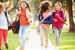 Gruppo di ragazze che corrono verso la macchina fotografica in parco Immagine Stock
