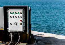 Gruppo di regolazione elettrico su porto della fabbrica Immagini Stock