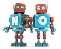 Gruppo di retro robot senza il segno Isolato Percorso di ritaglio di Cnotains Fotografia Stock