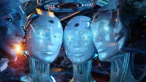 Gruppo di robot femminili vicino ad ogni altri rappresentazione di concetto 3d dell'esercito del cyborg illustrazione vettoriale