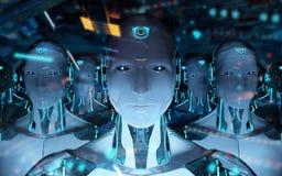 Gruppo di robot maschii che seguono la rappresentazione dell'esercito 3d del cyborg del capo illustrazione di stock