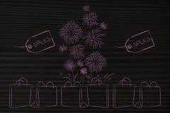 Gruppo di sacchetti della spesa con il comin dei prezzi da pagare e dei fuochi d'artificio di vendite Fotografie Stock