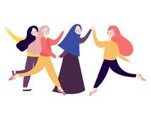 Gruppo di salto emozionante felice delle giovani donne stile piano fluido allegro luminoso dell'illustrazione di colore royalty illustrazione gratis