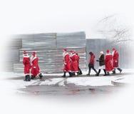 Gruppo di Santa Claus della gente immagine stock libera da diritti