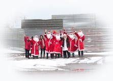 Gruppo di Santa Claus della gente fotografie stock libere da diritti