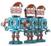 Gruppo di Santa Robots Concetto di Natale Contiene il percorso di ritaglio Fotografia Stock Libera da Diritti
