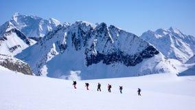 Gruppo di sciatori remoti che attraversano un ghiacciaio sul loro modo ad un'alta sommità nelle alpi Fotografia Stock Libera da Diritti