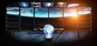 Gruppo di scienziati osservando il elem della rappresentazione del pianeta Terra 3D Immagine Stock