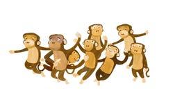 Gruppo di scimmie illustrazione vettoriale