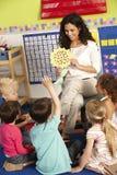 Gruppo di scolari elementari di età nella classe con l'insegnante Immagine Stock Libera da Diritti