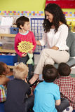 Gruppo di scolari elementari di età nella classe con l'insegnante Immagini Stock Libere da Diritti