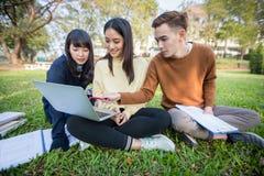 Gruppo di seduta asiatica degli studenti universitari sull'erba verde W Fotografie Stock Libere da Diritti